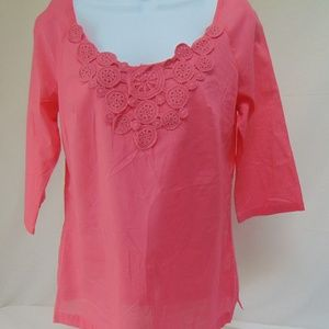 Coral Pink Gauze Tunic Top